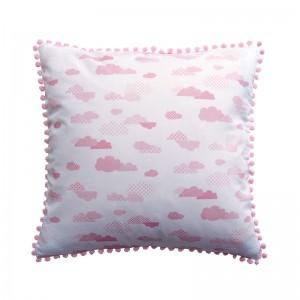 Capa de almofada infantil nuvem rosa