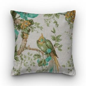 Capa de almofada estampa floral cru com pássaros verde