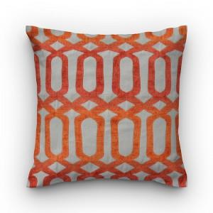Capa de almofada geométrico jacquard chenille laranja Quaker.