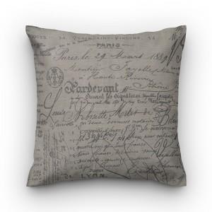 Capa de almofada escrita linho marrom