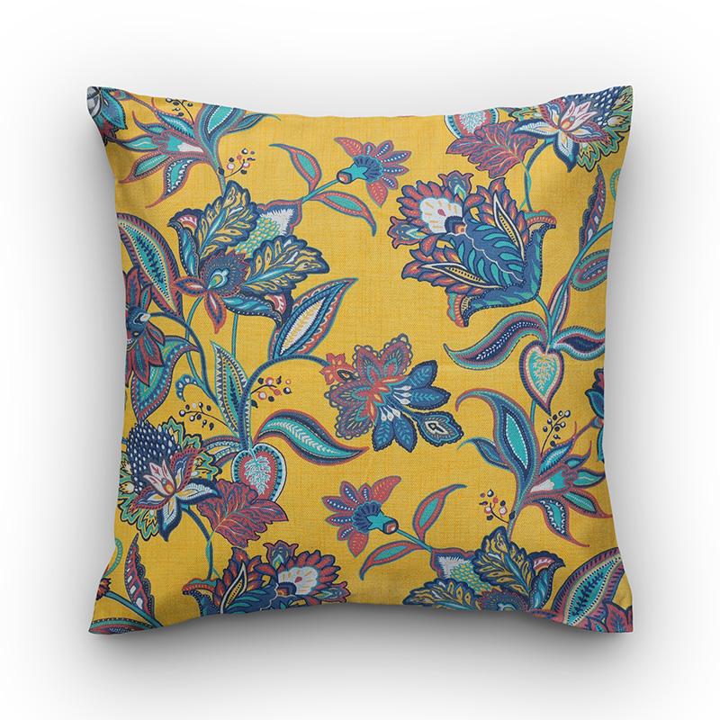 36b8a99a11ca77 Capa de almofada estampa floral azul semi impermeável