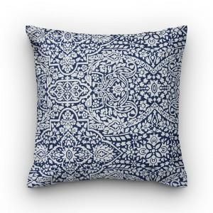 Capa de almofada geométrico azul com branco