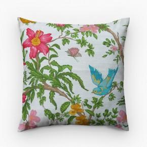 Capa de almofada estampa floral com pássaro turquesa