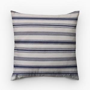 Capa de almofada listrado azul marinho com cru