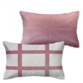 Kit com 2 Capas de almofada (1 rineira bordada em linho com veludo rosê+ 1 rineira veludo matelassê rosê)