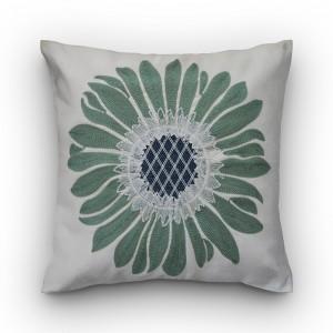Capa de almofada bordado com flor verde
