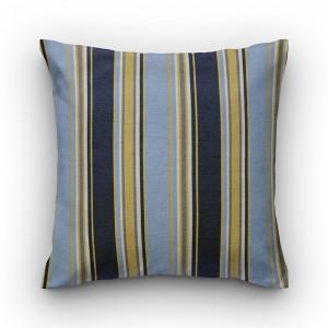 Capa de almofada listrado azul e mostarda