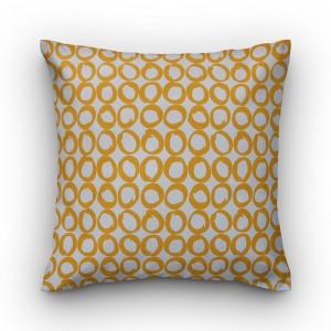 Capa de almofada geométrico cru com bola amarela