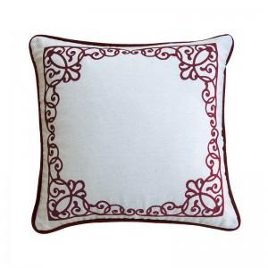 Capa de almofada bordado arabesco vermelha