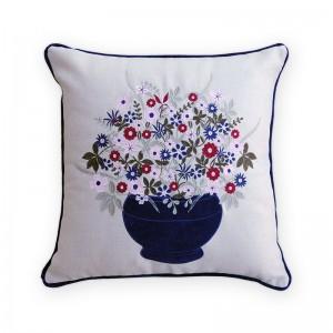 Capa de almofada bordado com vaso veludo  azul