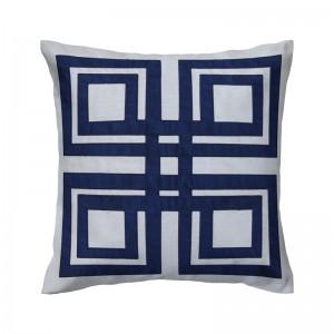 Capa de almofada bordado geométrica azul