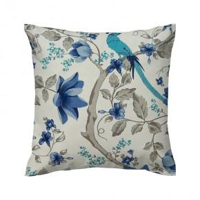 Capa de almofada cru estampa com flores e pássaros azuis