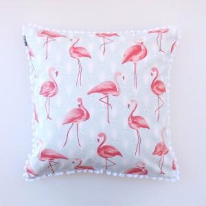 Capa de almofada estampa flamingo azul com pom pom