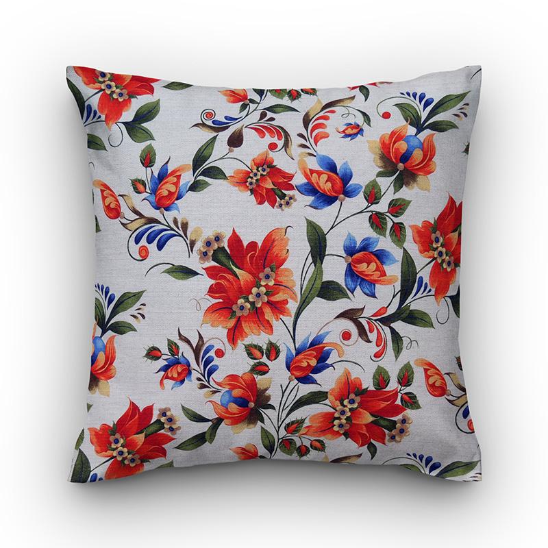 e47c79b929444b Capa de almofada linho estampa floral cru com laranja