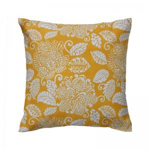 Capa de almofada floral amarelo com branco