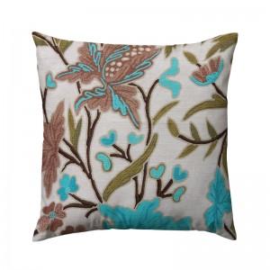Capa de almofada floral bege com flor marrom e azul