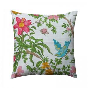 Capa de almofada floral com pássaro turquesa