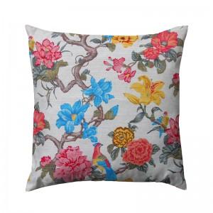 Capa de almofada floral com pássaros coloridos