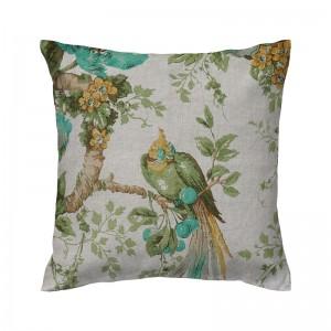 Capa de almofada floral cru com pássaros verdes