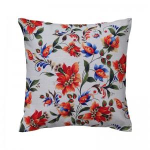 Capa de almofada floral linho com flores laranja