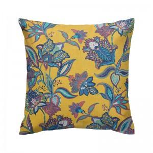 Capa de almofada floral semi impermeável amarelo e azul