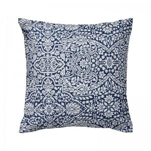 Capa de almofada azul com branco