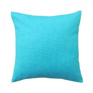 Capa de almofada liso linho azul turquesa