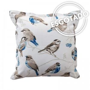 Capa de almofada pássaros bege e azul