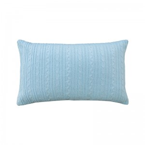Capa de almofada rineira tricô duplada azul claro