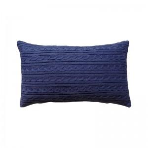 Capa de almofada rineira tricô duplada azul marinho