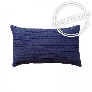 Capa de almofada rineira tricô duplada azul marinho 24 x 47 cm