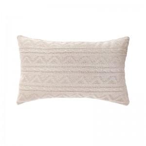 Capa de almofada rineira tricô duplada bege 30 x 50 cm