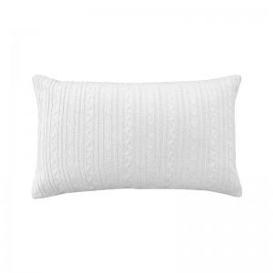 Capa de almofada rineira tricô duplada branca 33 x 50 cm