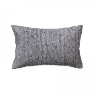 Capa de almofada rineira tricô duplada cinza 25 x 50 cm