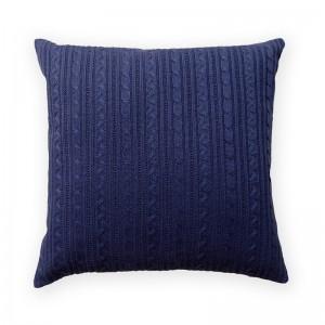 Capa de almofada tricô duplada azul marinho 47 x 47 cm