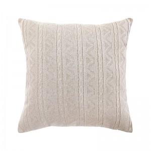 Capa de almofada tricô duplada bege 50 x 50 cm