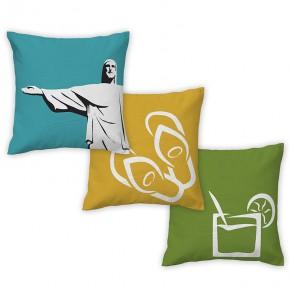 3 capas de almofadas - Monte seu Kit - Coleção Ícones do Brasil (design exclusivo VivaIn)