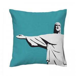 Capa de almofada azul Cristo - Coleção Ícones do Brasil (design exclusivo VivaIn)
