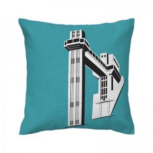 Capa de almofada azul Elevador Lacerda - Coleção Ícones do Brasil (design exclusivo VivaIn)