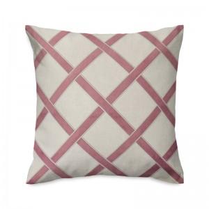 Capa de almofada bordada em linho com veludo rosê