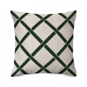 Capa de almofada bordada em linho com veludo verde