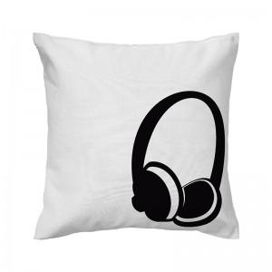 Capa de almofada branca Fone de ouvido - Coleção Música (design exclusivo VivaIn)