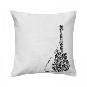 Capa de almofada branca Guitarra - Coleção Música (design exclusivo VivaIn)
