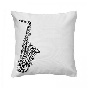 Capa de almofada branca Saxofone - Coleção Música (design exclusivo VivaIn)