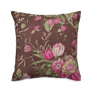 Capa de almofada floral marrom e rosa