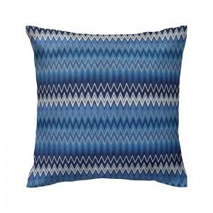 Capa de almofada geométrico chevron azul