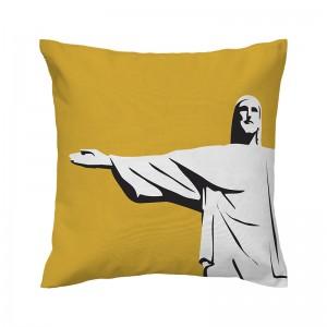 Capa de almofada mostarda Cristo - Coleção Ícones do Brasil (design exclusivo VivaIn)