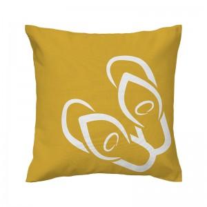 Capa de almofada mostarda Havaiana - Coleção Ícones do Brasil (design exclusivo VivaIn)