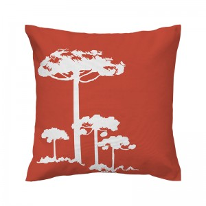 Capa de almofada papaya Pinheiro Branco - Coleção Ícones do Brasil (design exclusivo VivaIn)