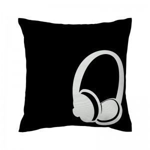 Capa de almofada preta Fone de ouvido - Coleção Música (design exclusivo VivaIn)